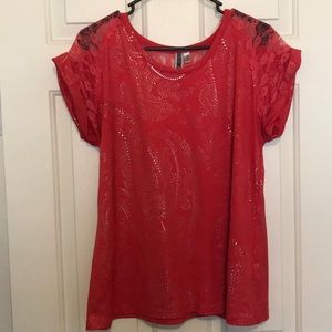 Buckle large pink lace shirt